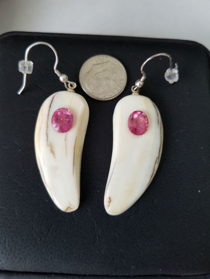 Very nice, Alaskan Native crafted ivory with natural, pink oval tourmalines as center stones for this unique earring set