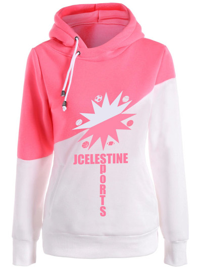 JC womens half and half hoodie pink