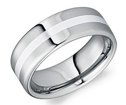 TU0181Z Torque Tungsten with Platinum Inlay Wedding Ring August