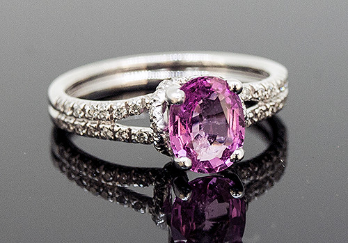 23510205 PINK SAPPHIRE AND DIAMOND RING 14K