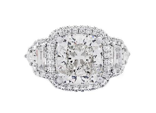 REG10755 5.04CT CUSHION DIAMOND AND 2.00CT SETTING 18KW