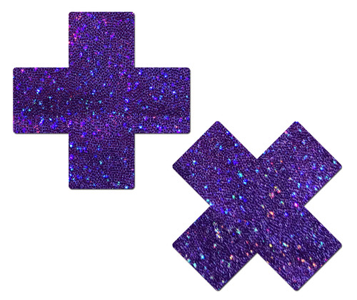 Plus X: Glitter Purple Cross Nipple Pasties by Pastease® o/s