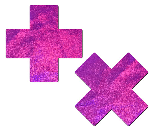 Plus X: Pink Holographic Cross Nipple Pasties by Pastease® o/s