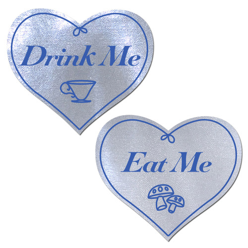 Eat Me Drink Me on Liquid White Heart Nipple Pasties by Pastease® o/s
