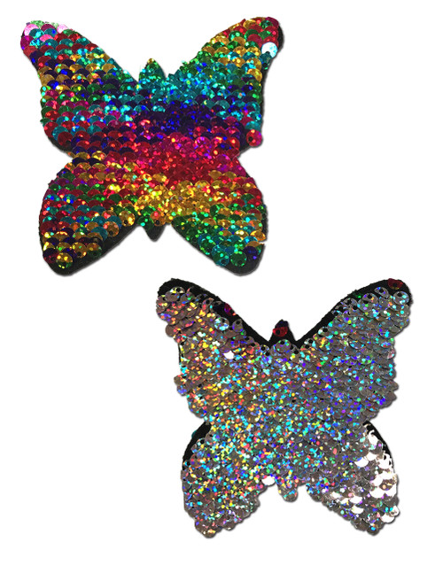 Monarch: Rainbow & Silver Glitter Color Changing Sequin Butterfly Nipple Pasties by Pastease® o/s