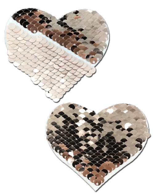 Sweety: Rose Gold Shiny & Matte Flip Sequin Heart Nipple Pasties by Pastease® o/s