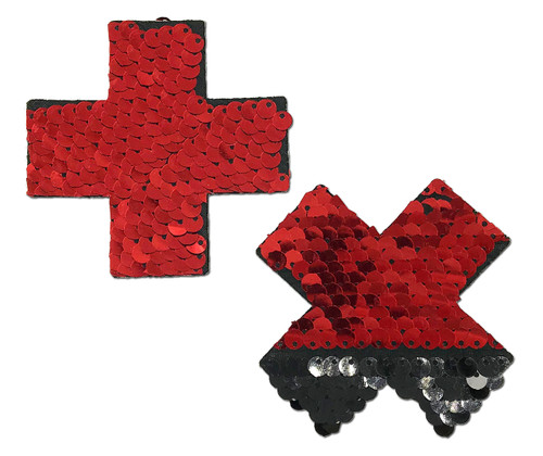 Plus X: Red & Black Flip Sequin Cross Nipple Pasties by Pastease® o/s