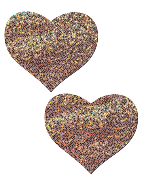 Love: Rose Gold Glitter Heart Nipple Pasties by Pastease® o/s