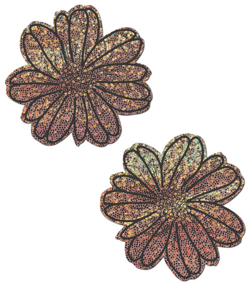 Wildflower: Rose Gold Glitter and Black Flower Nipple Pasties by Pastease® o/s