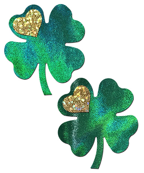Four Leaf Clover: Holographic Green Shamrocks with Hearts o' Gold Nipple Pasties by Pastease® o/s