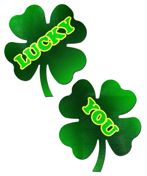 Four Leaf Clover: 'Lucky You' Green Shamrocks Nipple Pasties by Pastease® o/s