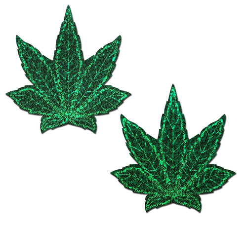 Indica Pot Leaf: Glitter Green Weed Nipple Pasties by Pastease® o/s