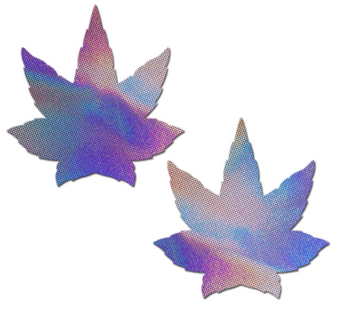 Indica Pot Leaf: Lavender Holographic Weed Nipple Pasties by Pastease® o/s