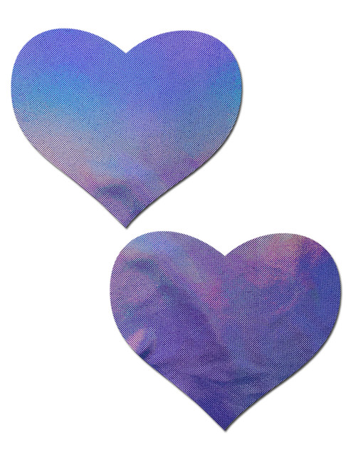 Love: Holographic Lavender Heart Nipple Pasties by Pastease® o/s