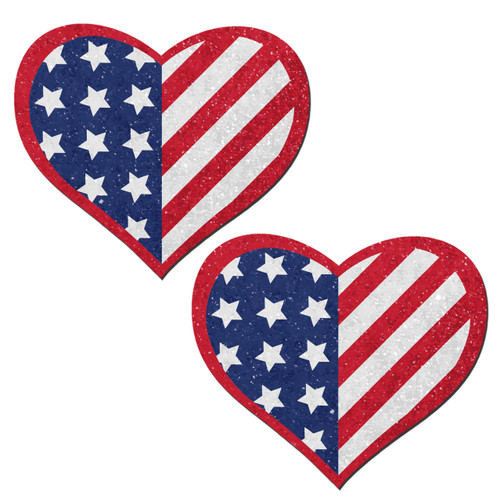 Love: Glittering Patriotic USA Red, White & Blue, Stars & Stripes Heart Nipple Pasties by Pastease® o/s