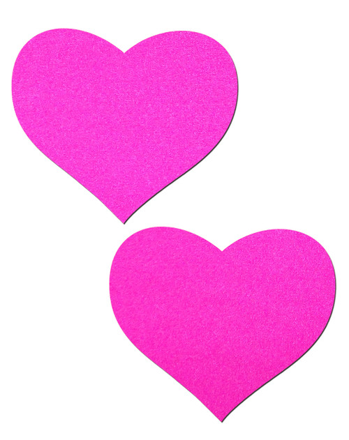 Neon Pink Day-Glow Lycra Heart Nipple Pasties by Pastease® o/s