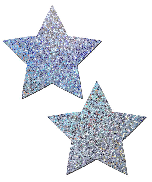 Rockstar: Silver Glitter Star Nipple Pasties by Pastease® o/s