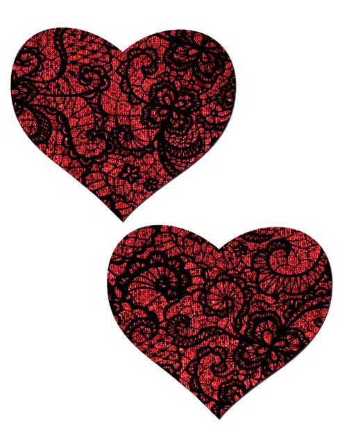 Red Glitter Heart with Black Lace overlay Nipple Pasties by Pastease® o/s