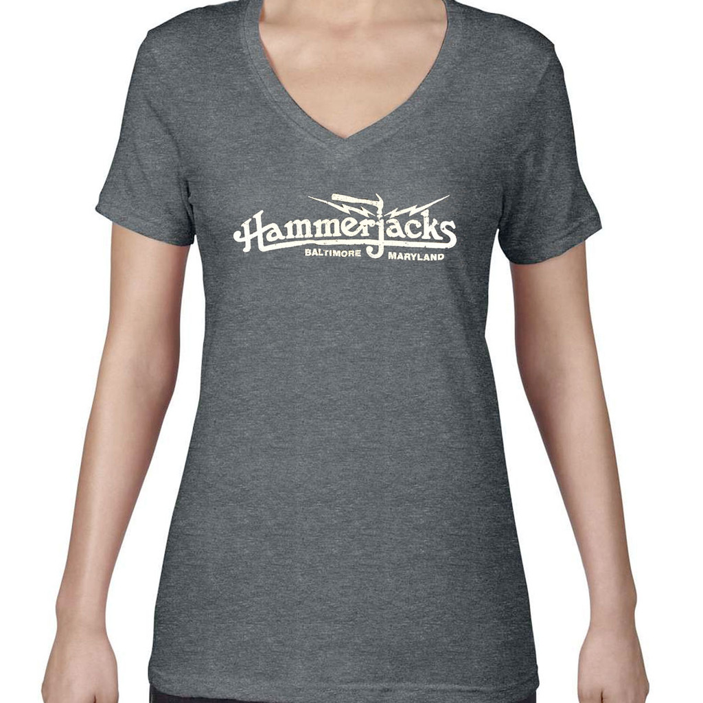Womens Gray V Neck With Crackle Logo