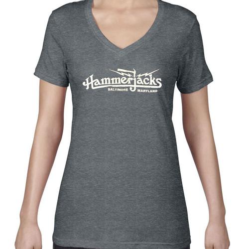 Womens Gray V Neck With Crackle Logo