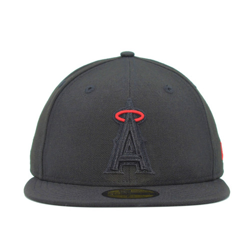 Black Pop Halo 5950  - HeadwearFittedMens - Los Angeles Angels - - Black - New Era