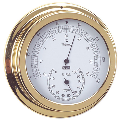 RWB Thermometer & Hygrometer Brass 120mm (RWB4552)