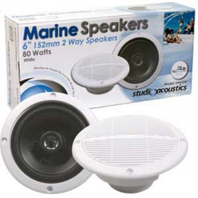 6-inch Round Weatherproof 2-Way Marine Speakers