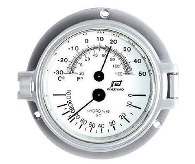 "Plastimo 3"" Thermometer-Hygrometer Hinged Matt Chrome"