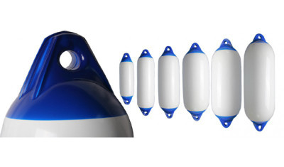 RWB Heavy Duty Boat Fenders - White with Blue Ends