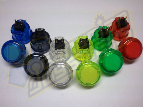 Sanwa Denshi OBSC-30 Translucent Clear 30mm Snap-in Push Button