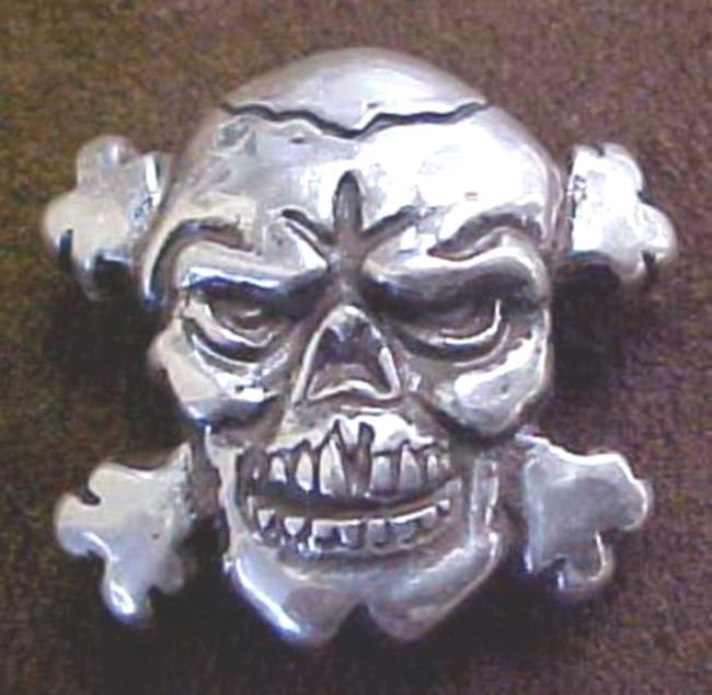 Biker Skull Cross Bones Concho