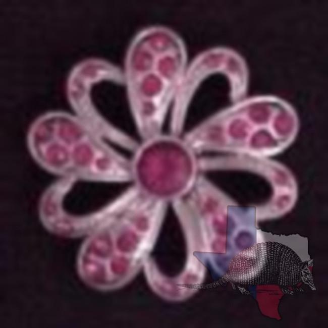Filigree Flower Fuchsia Crystal Concho