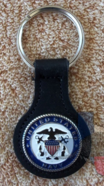 Military Key Fob United States Navy Black Leather