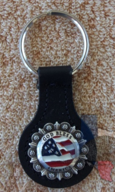 God Bless America Key Fob Brown