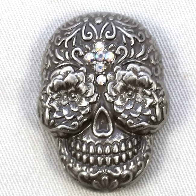 Motorcycle Conchos Sugar Skull Clear Crystal Cross