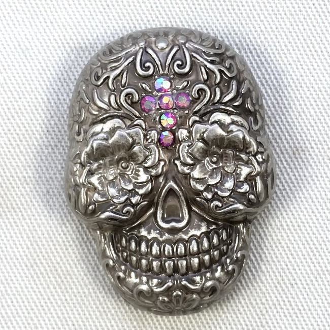 Motorcycle Concho Sugar Skull Fuschia Crystal Cross