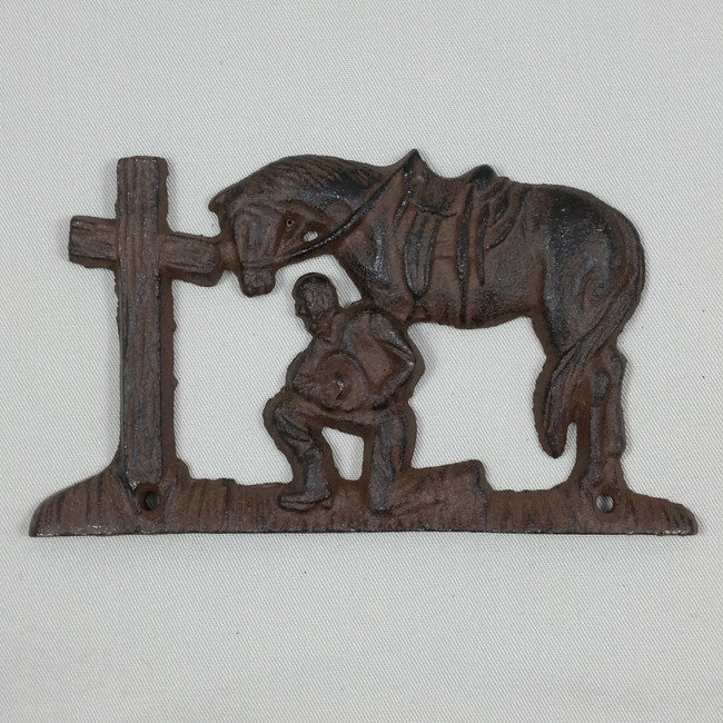 Western Praying Cowboy Church Metal Wall Plaque