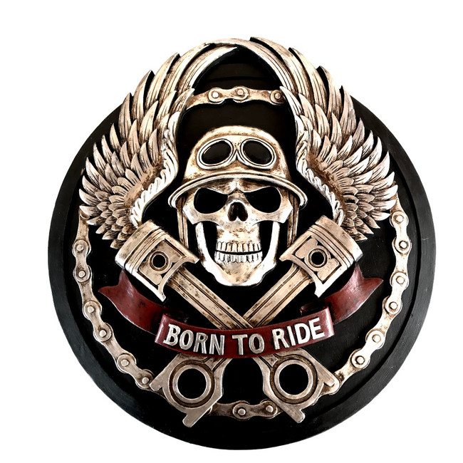 "BIKER MOTORCYCLE EMBLEM ""Born To Ride"" PLAQUE SIGN SCULPTURE"