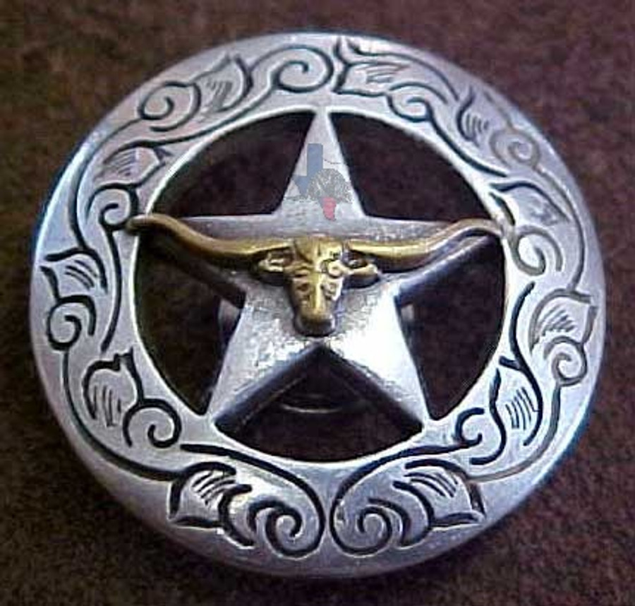 Longhorn On Star With Engraved Border Concho