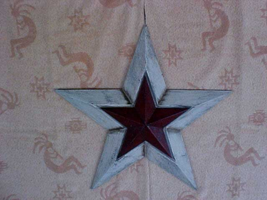 Red White Painted  Wood Star  ST28658W