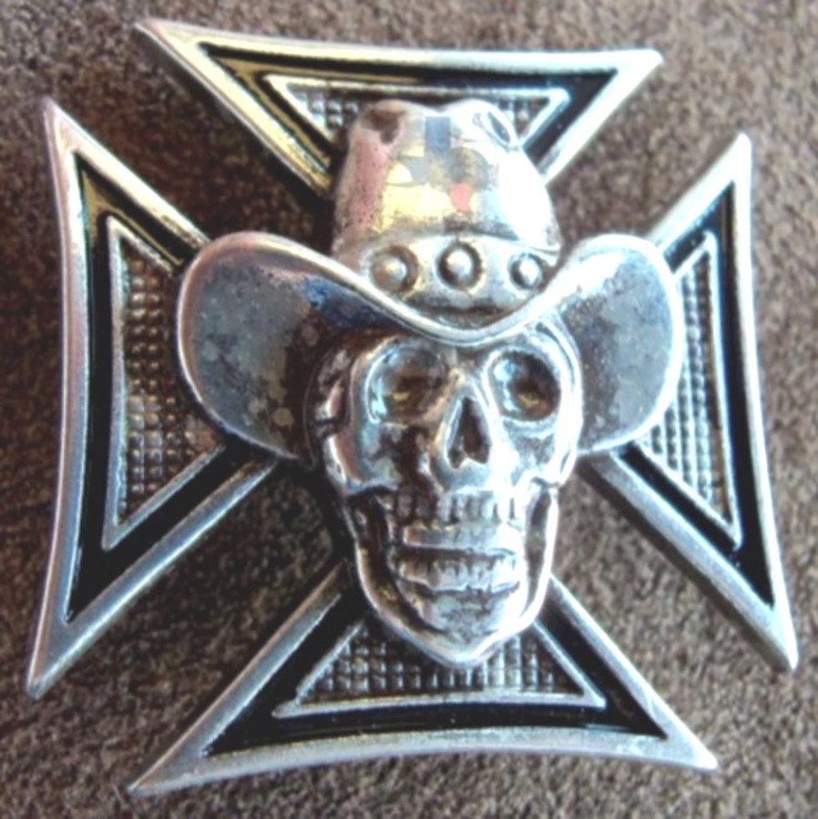Cowboy Skull Cross Motorcycle Concho