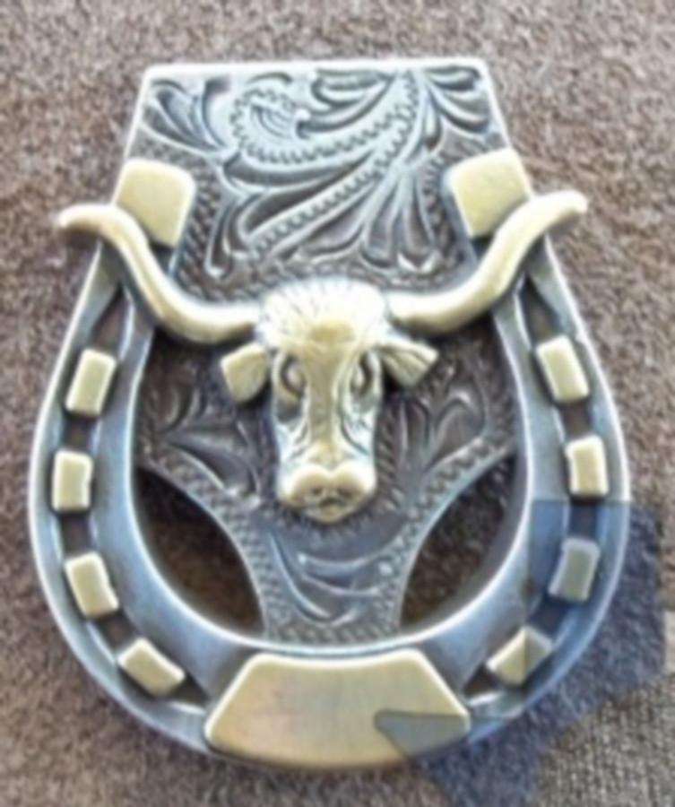 Western Horseshoe Texas Longhorn Concho