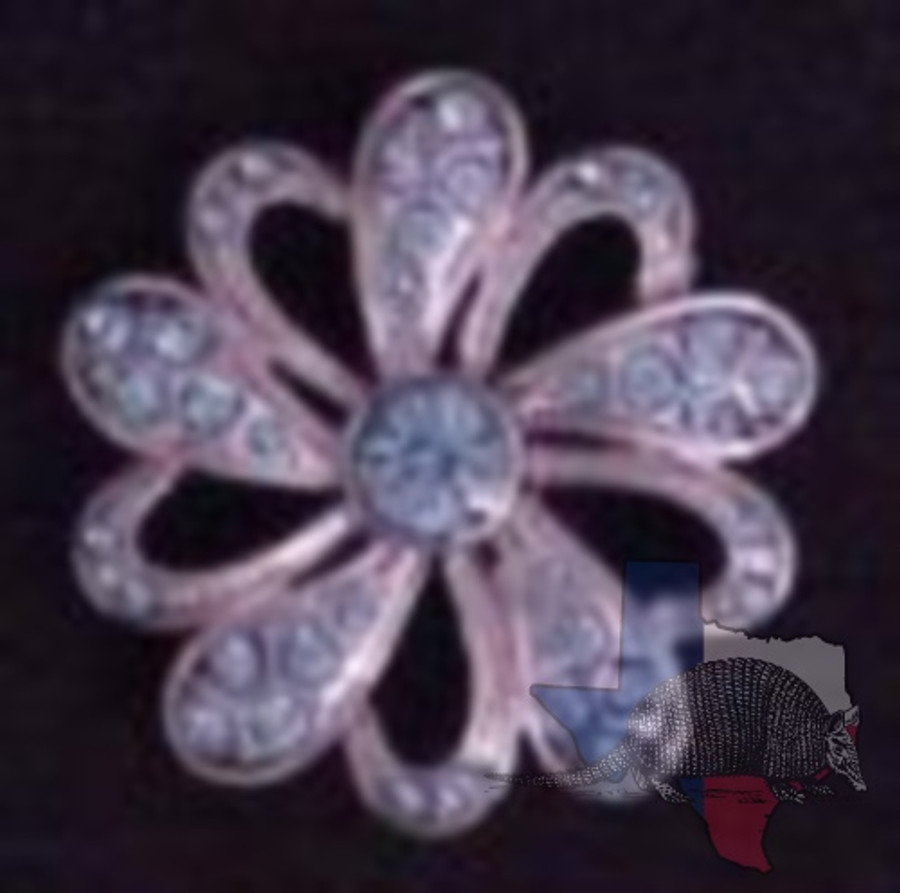 Filigree Flower with Sapphire Crystal Concho