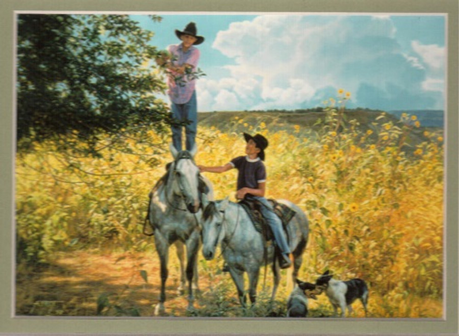 ART-TC-00012  Western Cowboys With Horse Print