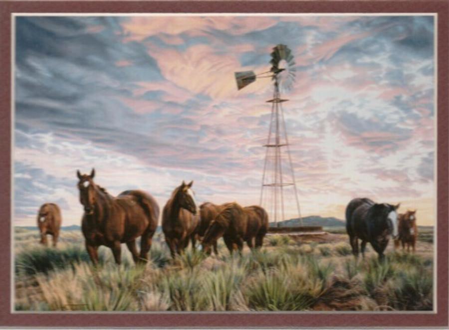 ART-TC-00020  Western Horses At days End Print