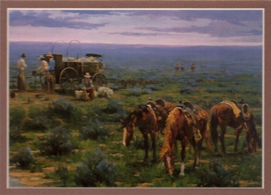 ART-JR-00002  Western Cowboys at Campfire by Chuckwagon Print