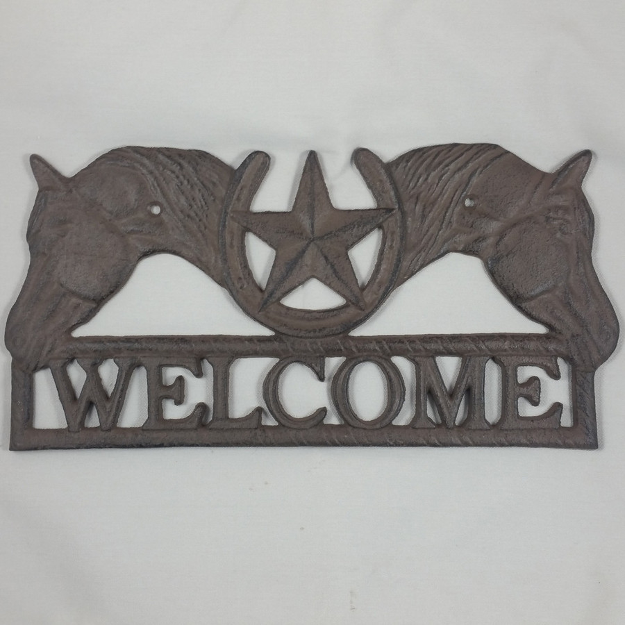 Cast Iron Horse Western Decor Welcome Sign