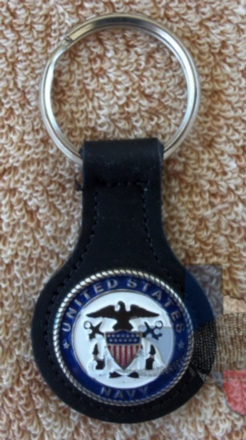 Military Key Fob United States Navy Brown Leather