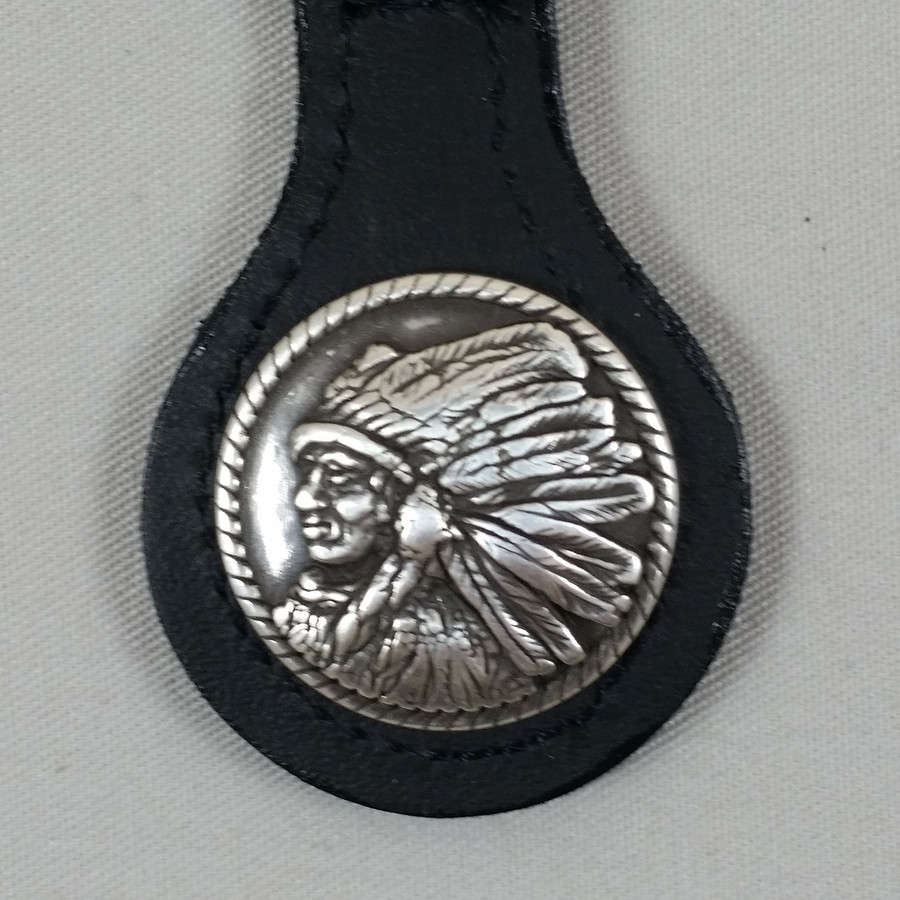 Motorcycle Key Fob Indian Cheif Profile Left Black Leather