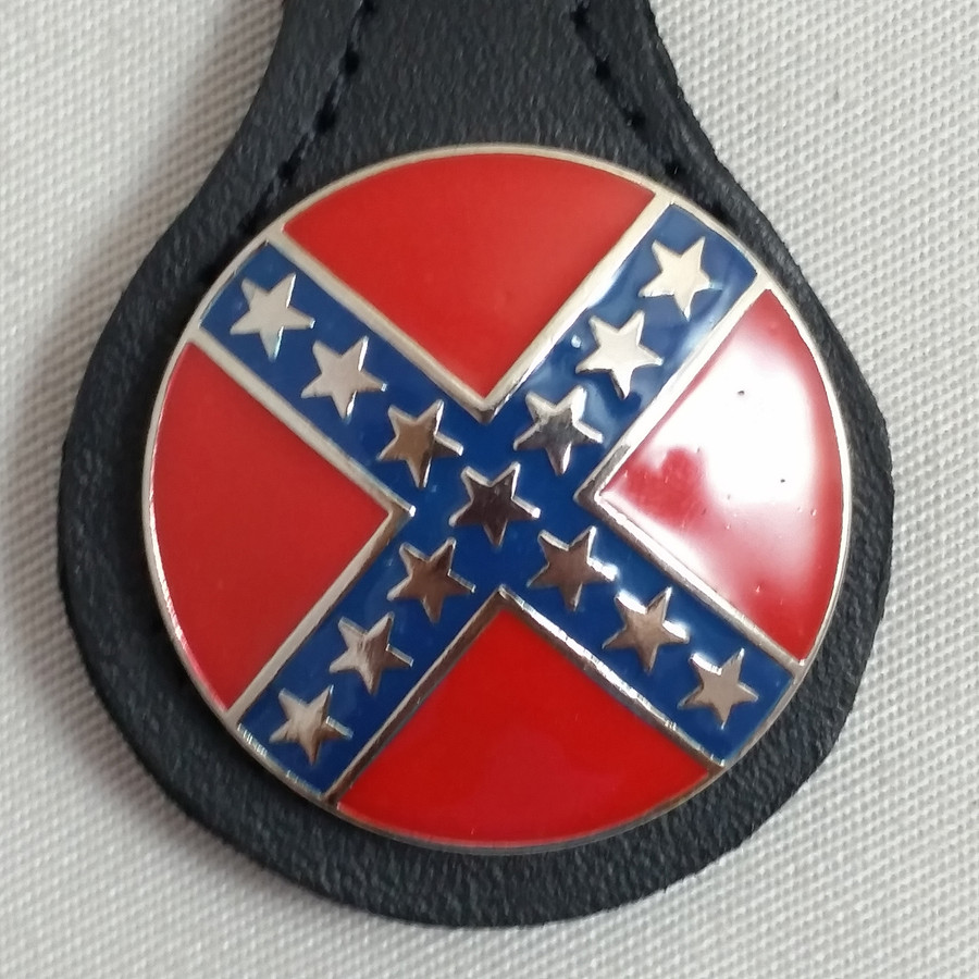 Confederate Round Rebel Key Fob Black Leather